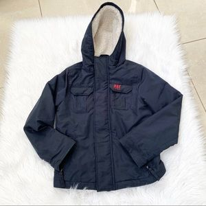 A & F navy ultimate Sherpa hooded parka coat S